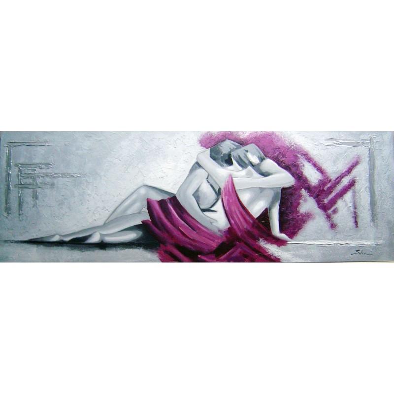 Cuadros para dormitorios. Cuadro pintado a mano horizontal alargado grande pinturas acrílicas lienzo vestido magenta