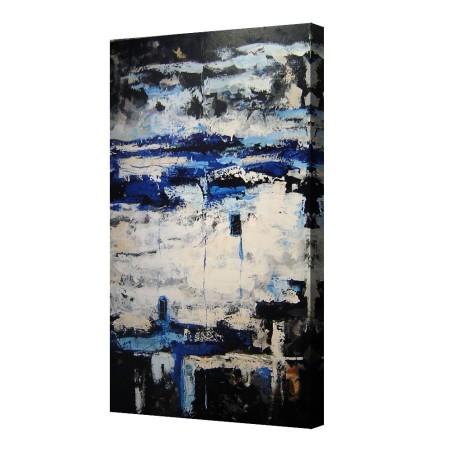 Cuadro abstracto arte pintura abstracta grande azul vertical