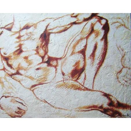 Cuadros pintores famosos pintados a mano en lienzo con textura. cuadro de desnudo masculino oferta decoración hogar outlet