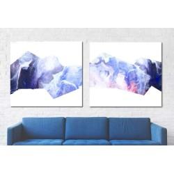 Decoración salón casa dos cuadros abstractos modernos tonos azules