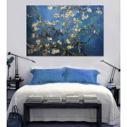 Cuadro famoso ramas en flor técnica mixta en lienzo impresión pintura a mano.
