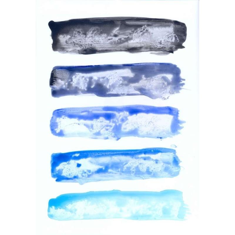 Cuadro arte abstracto franjas azules venta online