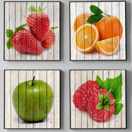 4 cuadros de frutas varios colores con marco para darle vida a tu cocina.