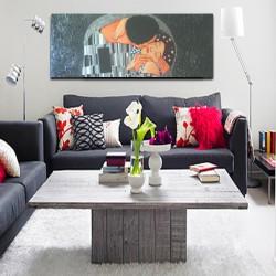 """Cuadro moderno """"el beso"""" pintado a mano decoración salón dormitorio horizontal alargado"""
