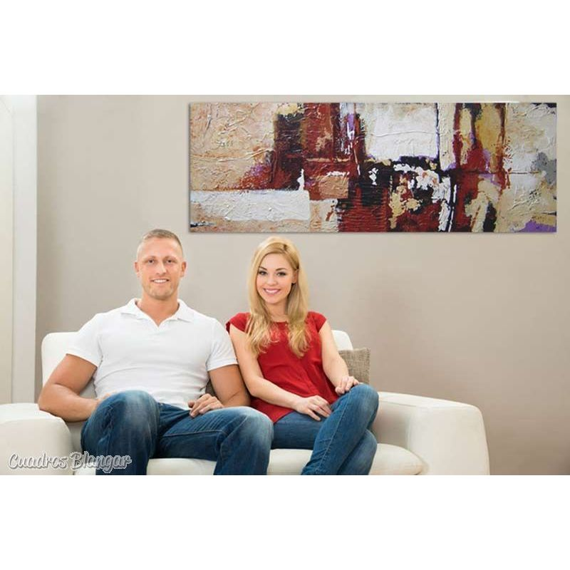 cuadro abstracto salon con textura y relieve