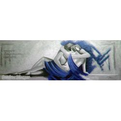 Cuadro para dormitorio pintura moderna horizontal alargada colores grises y azules.