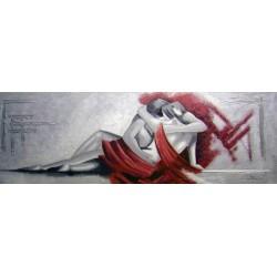 Pintura figurativa pareja enamorada lienzo horizontal grises y rojo