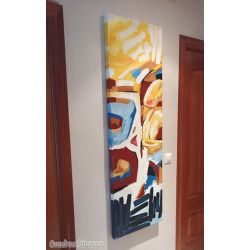 Cuadro abstracto moderno vertical alargado pintado a mano