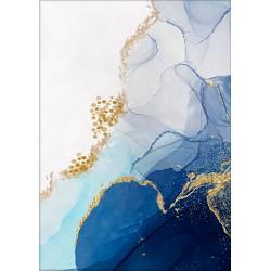 Cuadro abstracto grande colores azules y amarillos dorados. Disfrútalo en tu salón.