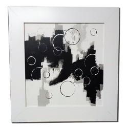 Cuadro abstracto pintado a mano  con marco blanco ancho exclusivo Cuadros Blangar