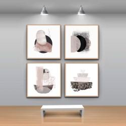 4 cuadros abstractos con marco estilo nórdico que le darán elegancia y estilo a cualquier pared de tu hogar.