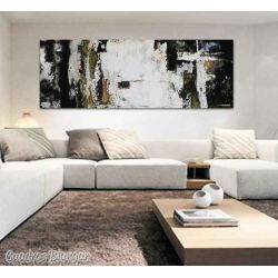 Pintura abstracta cuadro moderno horizontal grande panorámico decoración salón