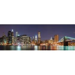 Cuadro impreso lienzo grande foto new york noche formato horizontal alargado decoración hogar