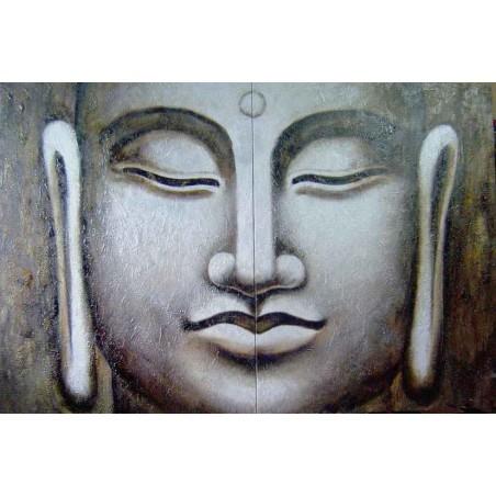 Cuadro diptico. Cuadros Buda zen plata negro y wengue. Cuadro arte figurativo pintado a mano lienzo con textura venta online