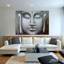 Cuadro Buda Decoración salón Cuadro diptico pintura figurativa arte moderno