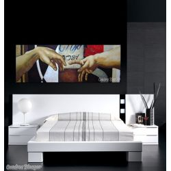 Cuadro famoso interpretación creación de Adán. Cuadro moderno cabecero cama decoración dormitorios