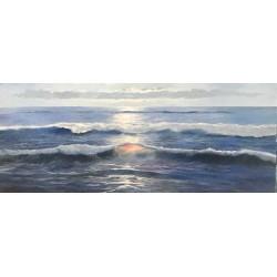 Cuadro al óleo paisaje olas marinas horizontal alargado en lienzo