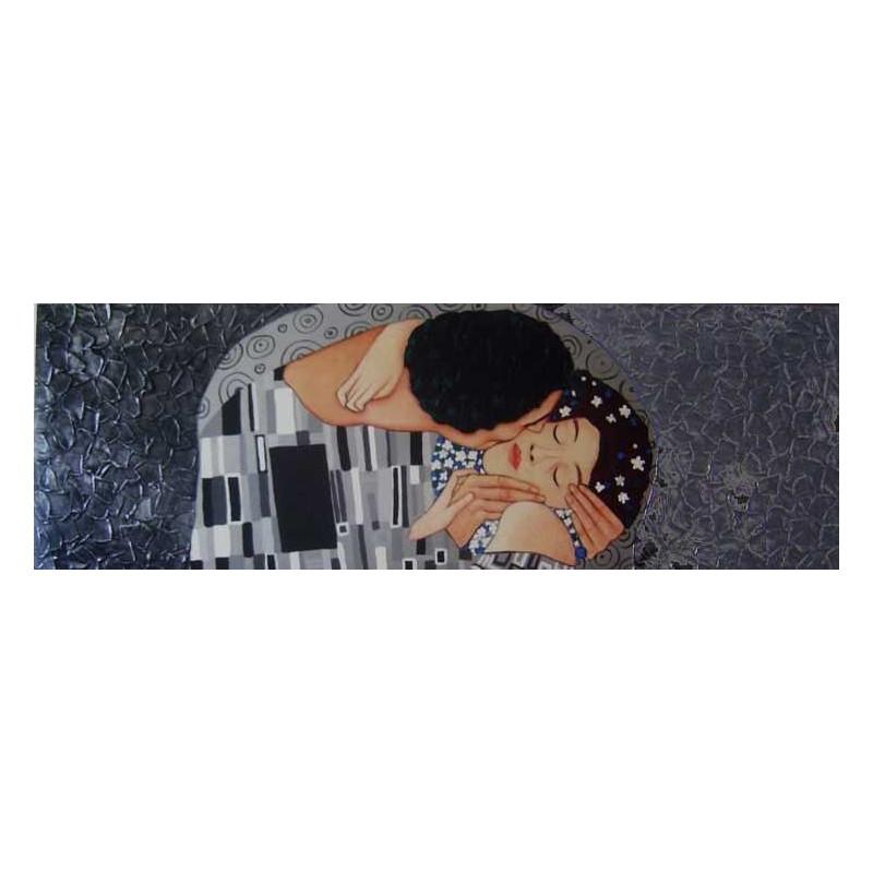 """Cuadro moderno figurativo """"el beso"""" horizontal alargado pintado a mano negro y plata"""