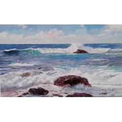 Cuadro al oleo paisajes olas marinas. Pinturas de paisajes marinos