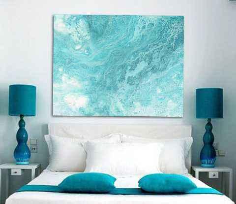 cuadro abstracto azul, arte abstracto cabecero cama dormitorio moderno