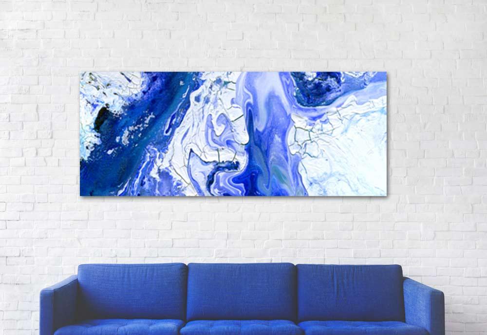 cuadro abstracto grande horizontal azul