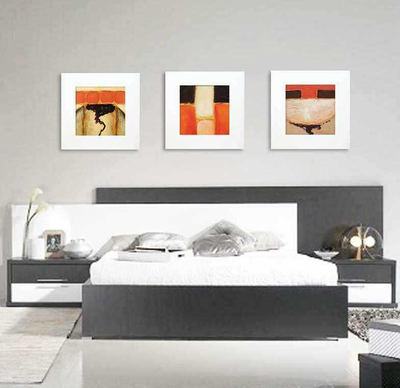 Cuadro abstracto marco blanco cuadrado pintura acr lica Cuadros modernos decoracion para tu dormitorio living
